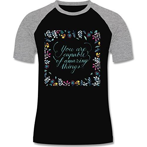 Statement Shirts - You are capable of amazing things - zweifarbiges Baseballshirt für Männer Schwarz/Grau Meliert