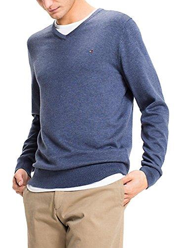 V-neck Vintage Pullover (Tommy Hilfiger Herren Pullover Cotton Silk Vneck, Blau (Vintage Indigo Htr 495), XX-Large)