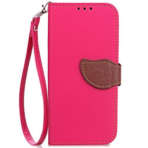 ISAKEN Kompatibel mit Galaxy J3 2017 Hülle, PU Leder Brieftasche Geldbörse Wallet Case Handyhülle Tasche Schutzhülle mit Standfunktion Karte Halter für Samsung Galaxy J3 2017 - Blattwerk Pink