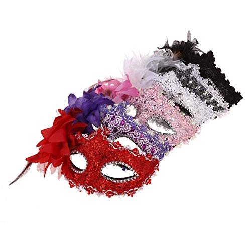 Heylookhere party mask party gift 6pcs giglio fiore cristallo strass decor merletto veneziano maschere per halloween masquerade costume party