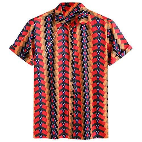 Xmiral camicie casuali allentate della manica corta stampata etnica variopinta del giro giù del collare del mens (l,13- rosso)