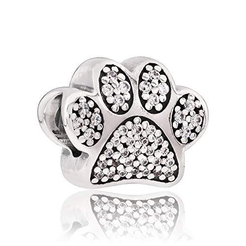 Pandora, 791713cz, charm a forma di cuore con zampetta i love my pet, in argento 925 e zirconia cubica trasparente