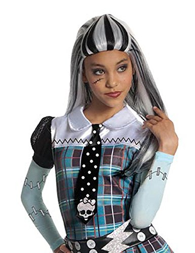 Monster High Frankie Stein Halloween Gothic Kinderperücke lang weiss schwarz (Monster High Schwarz Und Weiß Frankie)