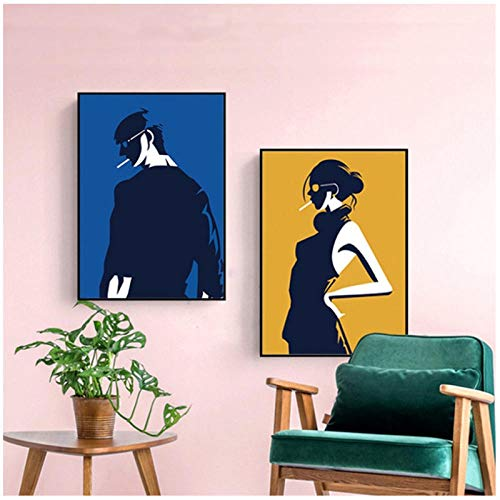 qiaoaoa 2 Stücke Nordic Abstrakte Schwarz Wandkunst Poster Minimalistischen Rauch Junge Leinwand Malerei Dekorative Bild, für Wohnzimmer Wohnkultur 50x70 cmx2 Kein Rahmen