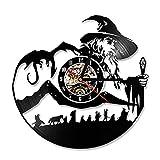LED Light Le Seigneur des Anneaux Disque Vinyle Suspendu Horloge Murale Creative Main Fait À La Main Antique Creux Horloge Classique Décor À La Maison