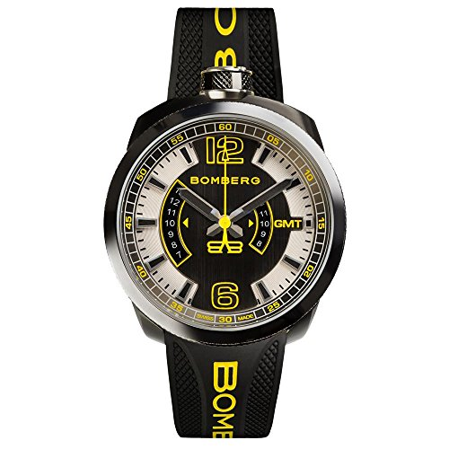 Bomberg Men's Bolt 68 45mm Silicone Band Steel Case Quartz Watch 45GMTSP.027.3