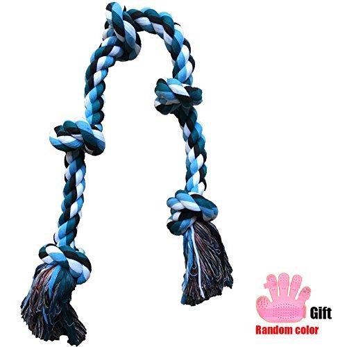 92 cm Juguetes de Cuerda para Perros Grande Resistente Juguetes para Morder para Perros Durable Juguetes Interactivos 5 Nudos de Cuerda para Perros Medianos y Grandes