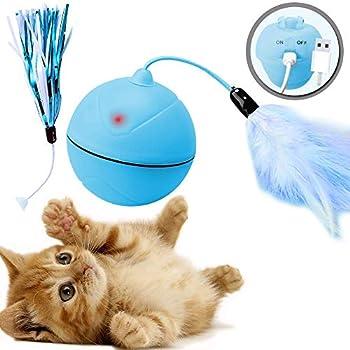 DYBOHF Jouet Chat Balle, Chargement USB, Chaton Jouet d'exercice, Boule Auto-rotative à 360 degrés Rotatif, Plume Détachable pour (Bleu)