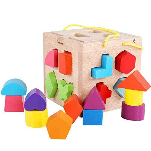 FEI Babyspielzeug Sortierung Puzzle aus Holz Frühe Erziehung ( Farbe : A (19 blocks) ) (Phantasie Entdeckung Blöcke)