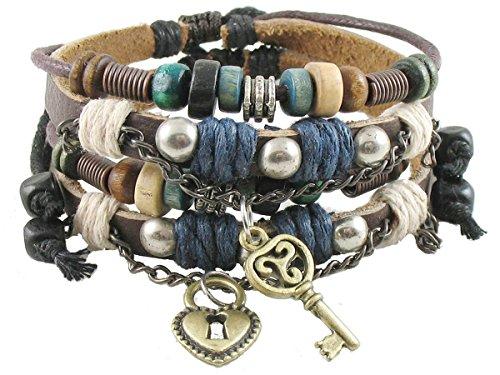 Armband mit Schloss und Schlüssel für Paare, antikes Tribe, verstellbar, Hanfleder (Paare Armband Schloss Und Schlüssel)
