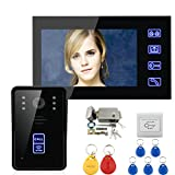 "MobileFDL 7"" inch Color LCD Video Door Phone Doorbell Home Video Door Entry Intercom System With Night Vision,RFID card,Electronic Lock And Exit Switch (1 Camera 1 Monitor)"
