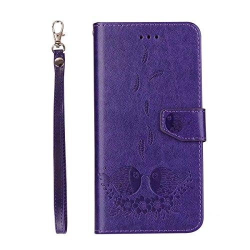 EKINHUI Case Cover Embossing Bird Pattern PU Ledertasche mit abnehmbarem Back Cover, Flip Stand Wllet Tasche mit Lanyard & Card Slots für iPhone 7 Plus ( Color : Black ) Purple