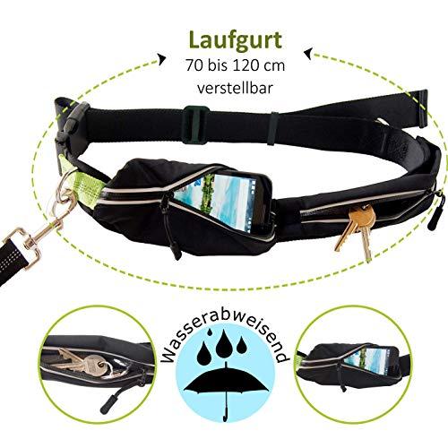 Joggingleine für Hunde von Nikkipet Verstellbarer, wasserabweisender Laufgürtel mit 2 Fächern & elastische, reflektierende 120 cm Leine & – Premium Flexi Jogging Hundeleine + Gürteltasche für große & mittlere Hunde - 2