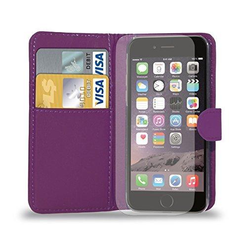 Apple iPhone 7 - Ledertasche Flip Case Cover Tasche + Retractable Stylus Pen + Touch Screen Protector & Poliertuch ( Schwarz ) Dark Purple