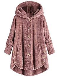 Abrigos Mujer Invierno Talla Grande Sudaderas con Capucha y Bolsillo Casual Cremallera Felpa Suéter Tops de