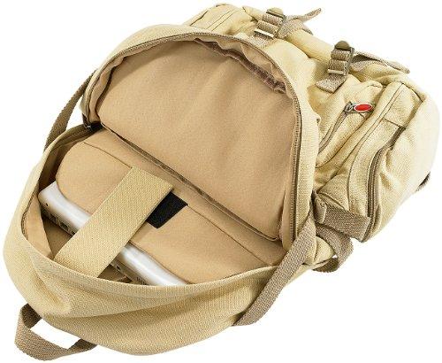 Xcase Militär Rucksack: Geräumiger Canvas-Rucksack mit Notebook-Fach (Herrenrucksack)