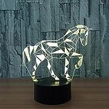 LOERO® Acryl 3D Effekt Illusion Lampe Puzzle Pferd Form 7 Farbe Touch-schalter Led-nachtlichter...