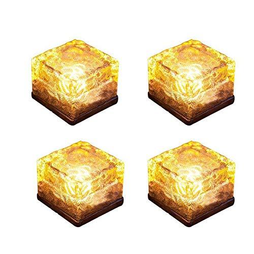 GYFHMY 4er Pack Solar Brick Yard Light, Eiswürfel beleuchtet wasserdichte LED-Glaslampe, begrabene Pflasterstein für Gartenterrasse im Innenhof Dekoration, warmweiß (Yard Halloween Außerhalb Dekorationen)