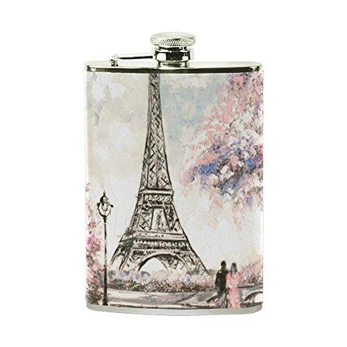 jeansame Personalisierte Hip Drink Fläschchen 8Oz aus Edelstahl für Damen Herren Vintage Paris Eiffelturm Ölgemälde Floral Blumen -