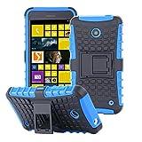 ECENCE Handyhülle Schutzhülle Outdoor Case Cover kompatibel für Nokia Lumia 630/630 Dual SIM / 635 Handytasche Blau 22030306