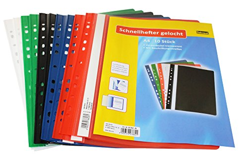 Preisvergleich Produktbild Idena 307862 - Schnellhefter A4 gelocht, aus Kunststoff, 10 Stück, 5 Farben, 2 x blau/grün/rot/weiß/schwarz