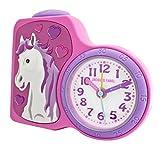 Jacques Farel Kinderwecker Mädchen Pferd rosa / pink ohne Ticken, mit Licht und Snooze ACB 717 HS