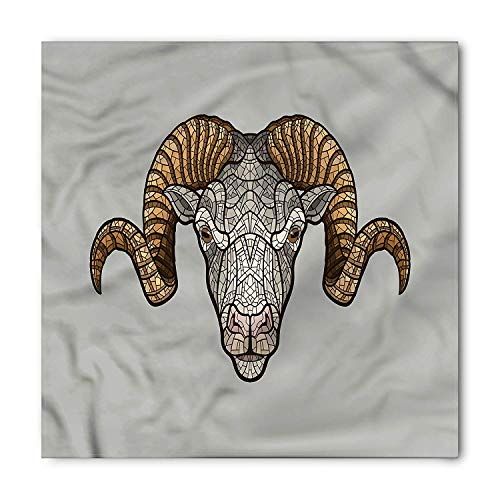 TKMSH Zodiac Aries Square Scarf, Artistic Ram Horns,Bandana Head and Neck Tie Neckerchief Headdress Silk-Like 100% Polyester