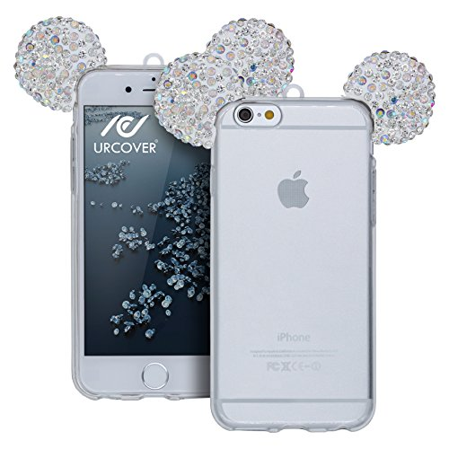 Urcover® Apple iPhone 6 Plus / 6s Plus Handyhülle Maus Ohren Bling Ear Schutzhülle Case Cover Etui Crystal Bär Maus Ohren Girl TPU Diamant Silber Silber