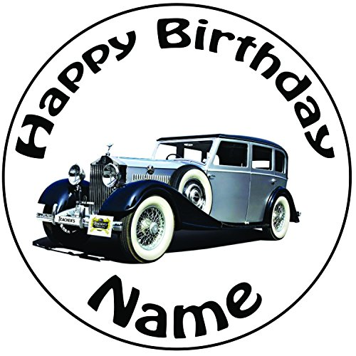 personalised-vintage-classic-rolls-royce-cake-topper-a-pre-cut-round-8-20cm-icing-decoration
