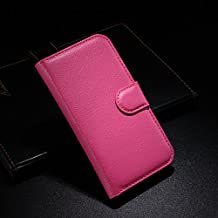 Qiaogle Teléfono Case - Funda de PU Cuero Billetera Clamshell Carcasa Cover para Alcatel Onetouch Idol Alpha OT-6032 / 6032A / 6032X - FC06 / Rose Moda Elegante estilo