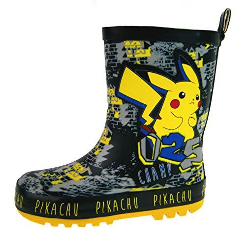 Dora Schwarze Stiefel Kind (Lora Dora Pokemon Jungen Gummistiefel Regen Schnee Gummistiefel, Schwarz - Pikachu - Größe: 32 EU)