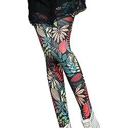 Guiran Mujer Yoga Leggings Hojas Estampados Push Up Leggins Jeggings Skinny Pantalones De Cintura Alta Estilo2 Talla única