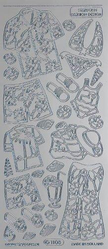 Unbekannt Starform Peel Off Motiv-Sticker 0771 silber Strandkleider -