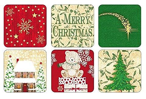 Pimpernel Weihnachten Segen Untersetzer, Holz, mehrfarbig, mittel, Set von 6