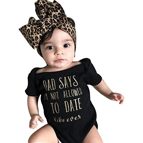 SHOBDW Girls Clothing Sets, Newborn Baby Summer Fashion Leopard Letter Short Sleeve Romper Jumpsuit + Headband Outfits Infant Clothes