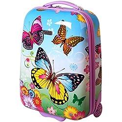 Karry Butterfly 819 - Maleta rígida de equipaje de mano infantil, led, con ruedas, diseño de mariposas
