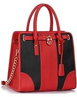 Womens Smart Padlock and Chain Handbag Ladies Celebrity Style Handbag Bag
