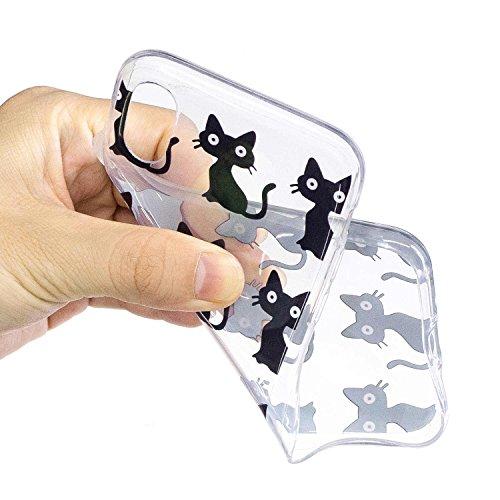 iPhone X Hülle, MSK TPU Silikon Schutz Handy Hülle Handytasche HandyHülle Etui Schale Schutzhülle Case Cover Tasche Etui für Apple iPhone X - Eiscreme Kätzchen