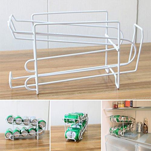 Tray Dispenser (Tin Can Bier Getränke Dispenser Container, woopower 2Etagen Getränke stapelbar Lagerung Rack Tray Rack Organizer Küche Kühlschrank Kühlschrank Party Halter)