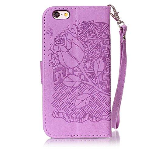 Custodia iPhone 6S, iPhone 6 Cover, ikasus® iPhone 6S/iPhone 6 Custodia Cover [PU Leather] [Shock-Absorption] Goffratura Embossing Floreale Fiore Cranio Campanula Modello Protettiva Custodia Cover con Rosa Blu