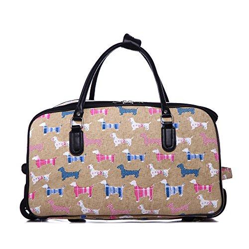 LeahWard® Reisetasche Schmetterling Gepäck Reisetaschen Damen Handtasche Gepäck Wochenende Taschen (L.GREY DOT Reisetasche) KHAKI DOG