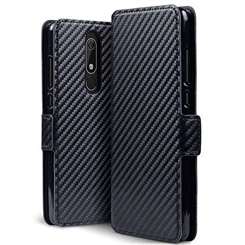 TERRAPIN, Kompatibel mit Nokia 5.1 Hülle, Leder Tasche Case Hülle im Bookstyle mit Standfunktion Kartenfächer - Schwarz Karbonfaser Dessin