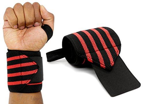 MyGadget Elastische Handgelenk Bandagen - 2X Sport Handgelenkbandage (Daumenschlaufe) Kompression für Fitness, Bodybuilding, Tennis & Kraftsport - Rot