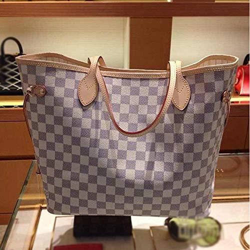 Mrs. Li's shop Europäische und amerikanische Mode Leder Rindsleder Schulter Plaid Kaffee weiß Plaid Einkaufstasche Handtasche, White Plaid