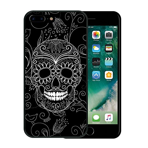 iPhone 7 Plus Hülle, WoowCase Handyhülle Silikon für [ iPhone 7 Plus ] Schädel mit Diamanten Handytasche Handy Cover Case Schutzhülle Flexible TPU - Transparent Housse Gel iPhone 7 Plus Schwarze D0059
