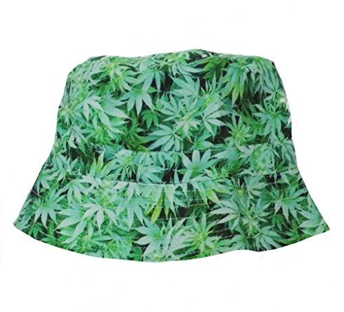 Black Out Cannabis Hanf Weed Fischerhut Sonnenhut Hut grün