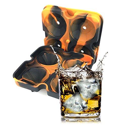Bandeja de cubo de hielo,forma de diamante 3D Ice Cube Hacer Cubitos Hielo para Agua, Copa Mundial de fútbol, Whisky cuadrados, émbolo & cubitos de hielo Cubitera (A)