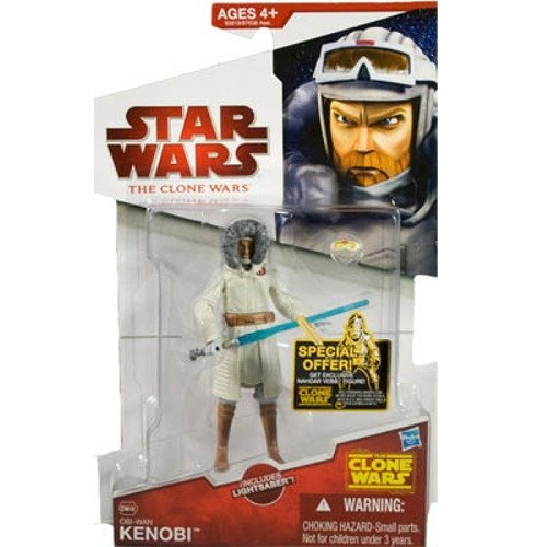 Star Wars, The Clone Wars 2009 Action Figure, Obi-Wan Kenobi #CW48 (Cold Weather Gear), 3.75 Inches
