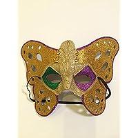 Maske in Schmetterlingsform aus Papiermachè, handbemalt und handgefertigt.