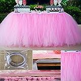 Gonna tutù in tulle da tavolo, tovaglia gonna adatto per festa di nozze Baby Bathing torta di compleanno da tavolo ragazza principessa decorazione, Pink, Taglia libera